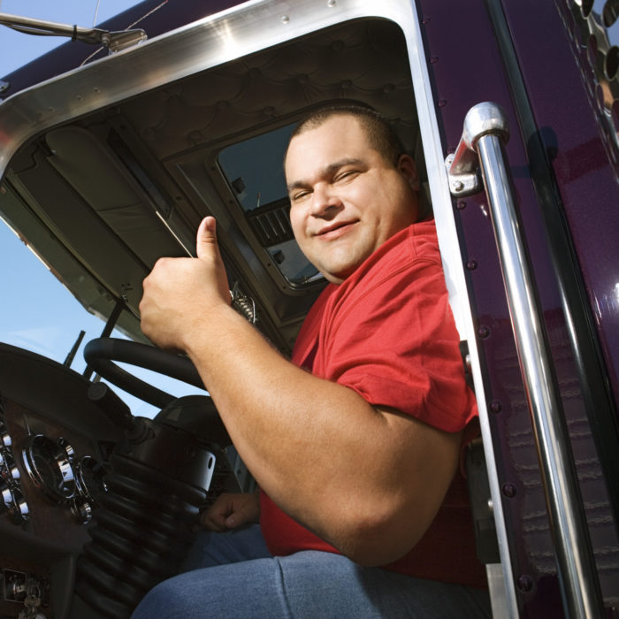 Trucker giving thumbs up